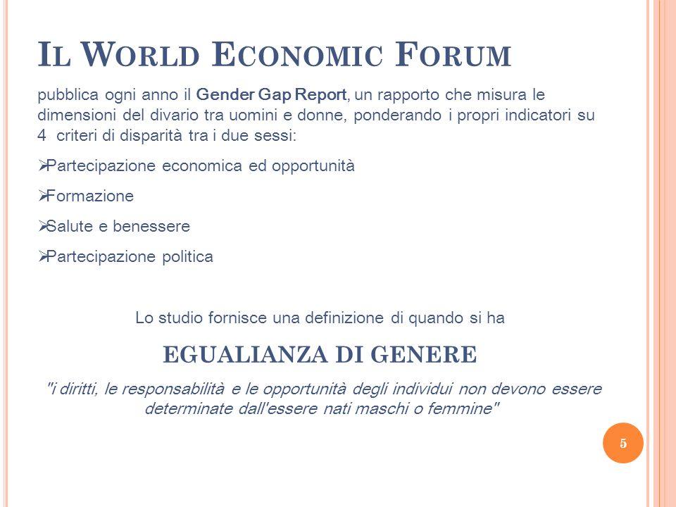 I L W ORLD E CONOMIC F ORUM pubblica ogni anno il Gender Gap Report, un rapporto che misura le dimensioni del divario tra uomini e donne, ponderando i