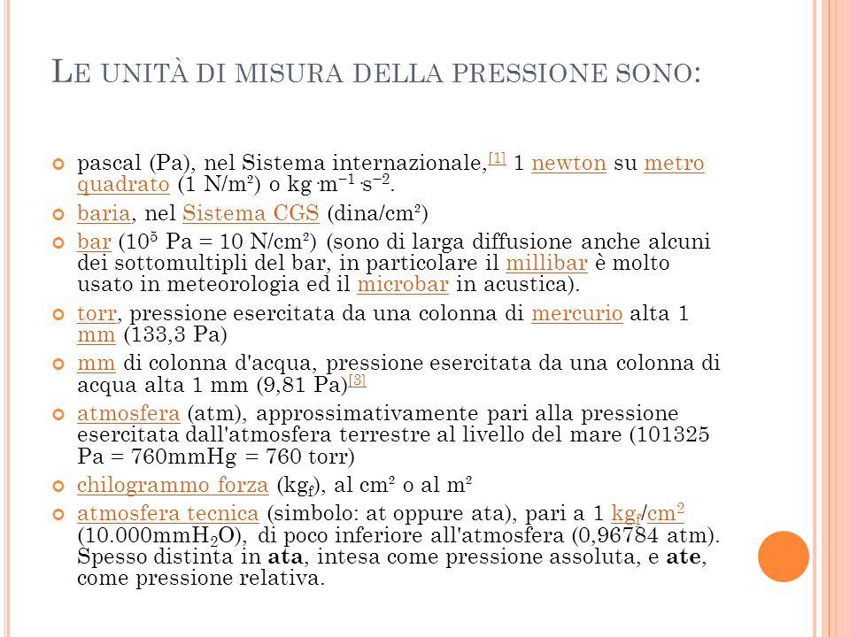 L E UNITÀ DI MISURA DELLA PRESSIONE SONO : pascal (Pa), nel Sistema internazionale, [1] 1 newton su metro quadrato (1 N/m²) o kg·m 1 ·s 2. [1]newtonme