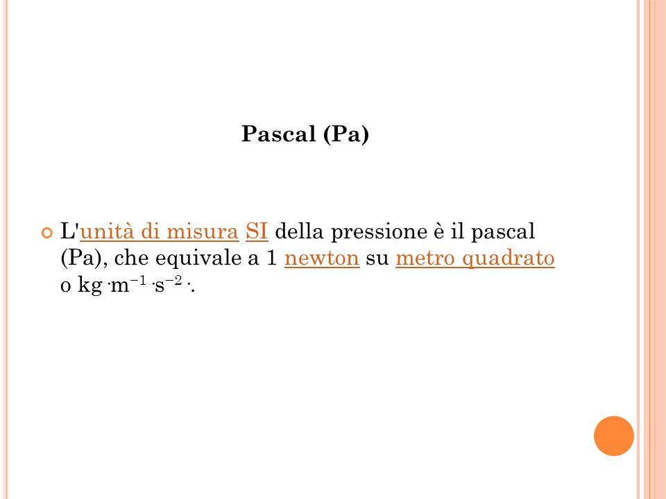 Pascal (Pa) L'unità di misura SI della pressione è il pascal (Pa), che equivale a 1 newton su metro quadrato o kg·m 1 ·s 2 ·.unità di misuraSInewtonme
