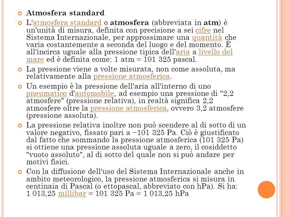 Atmosfera standard L'atmosfera standard o atmosfera (abbreviata in atm ) è un'unità di misura, definita con precisione a sei cifre nel Sistema Interna