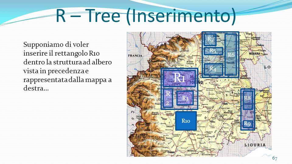 67 R – Tree (Inserimento) R2R2 R1 R3 R4 R5 R6 R7 R8 R9 Supponiamo di voler inserire il rettangolo R10 dentro la struttura ad albero vista in precedenz