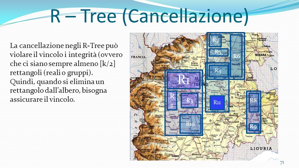 71 R – Tree (Cancellazione) R2R2 R1 R3 R4 R5 R6 R7 R8 R9 La cancellazione negli R-Tree può violare il vincolo i integrità (ovvero che ci siano sempre