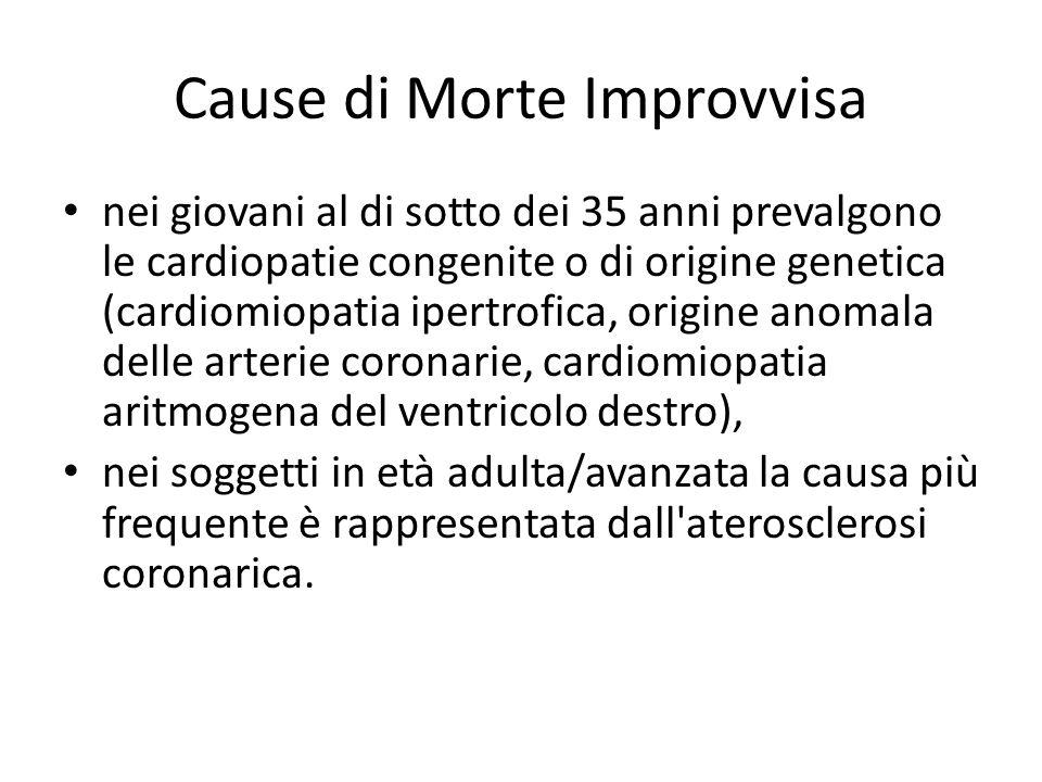 Cause di Morte Improvvisa nei giovani al di sotto dei 35 anni prevalgono le cardiopatie congenite o di origine genetica (cardiomiopatia ipertrofica, o