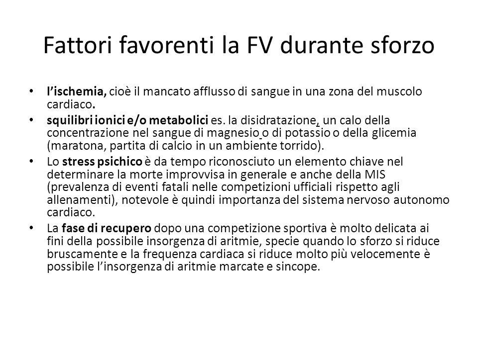 Fattori favorenti la FV durante sforzo lischemia, cioè il mancato afflusso di sangue in una zona del muscolo cardiaco. squilibri ionici e/o metabolici
