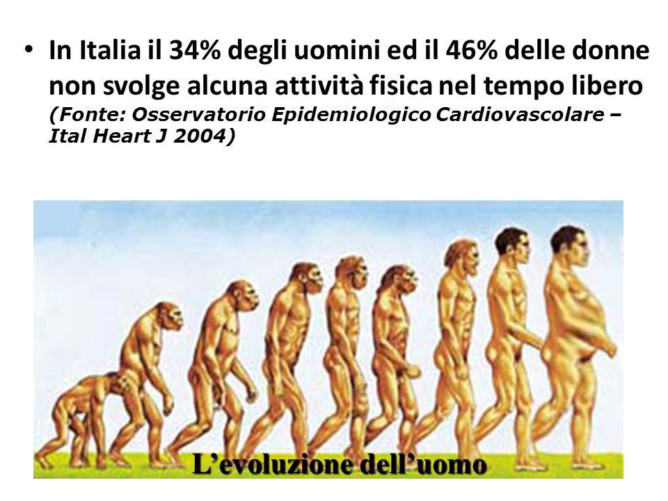 (Fonte: Osservatorio Epidemiologico Cardiovascolare – Ital Heart J 2004) In Italia il 34% degli uomini ed il 46% delle donne non svolge alcuna attivit