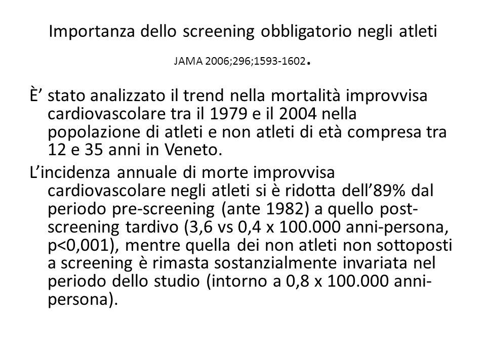 Importanza dello screening obbligatorio negli atleti JAMA 2006;296;1593-1602. È stato analizzato il trend nella mortalità improvvisa cardiovascolare t
