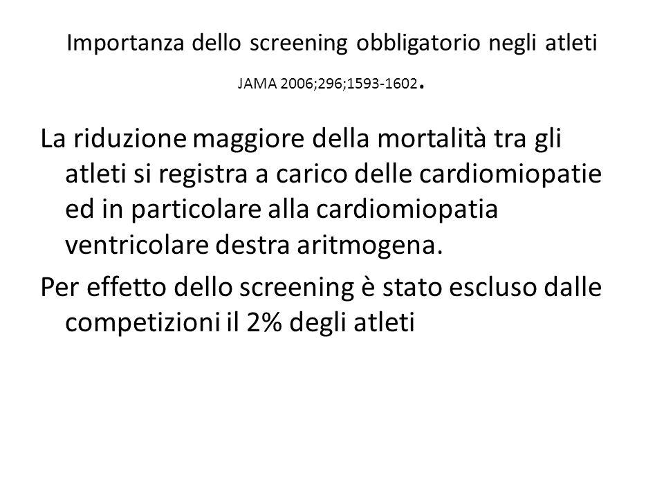 Importanza dello screening obbligatorio negli atleti JAMA 2006;296;1593-1602. La riduzione maggiore della mortalità tra gli atleti si registra a caric