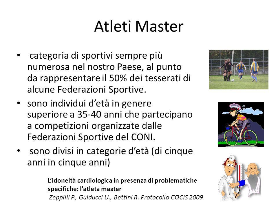 Atleti Master categoria di sportivi sempre più numerosa nel nostro Paese, al punto da rappresentare il 50% dei tesserati di alcune Federazioni Sportiv