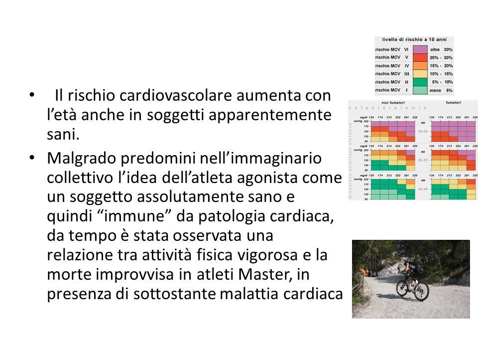Il rischio cardiovascolare aumenta con letà anche in soggetti apparentemente sani. Malgrado predomini nellimmaginario collettivo lidea dellatleta agon