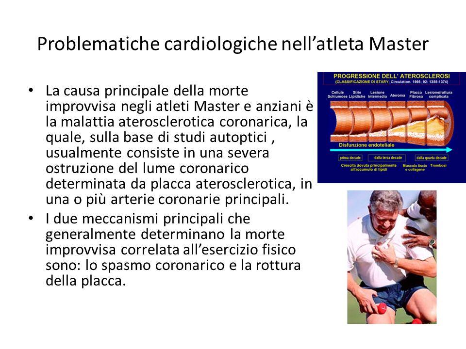 Problematiche cardiologiche nellatleta Master La causa principale della morte improvvisa negli atleti Master e anziani è la malattia aterosclerotica c