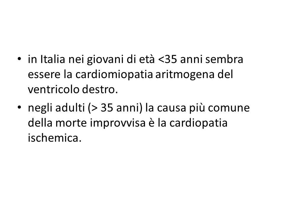 in Italia nei giovani di età <35 anni sembra essere la cardiomiopatia aritmogena del ventricolo destro. negli adulti (> 35 anni) la causa più comune d