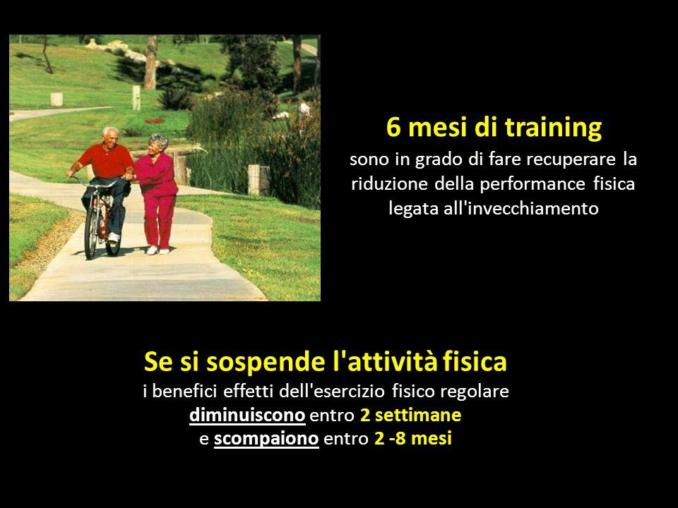 Se si sospende l'attività fisica i benefici effetti dell'esercizio fisico regolare diminuiscono entro 2 settimane e scompaiono entro 2 -8 mesi 6 mesi