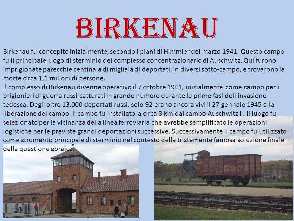 birkenau Birkenau fu concepito inizialmente, secondo i piani di Himmler del marzo 1941. Questo campo fu il principale luogo di sterminio del complesso