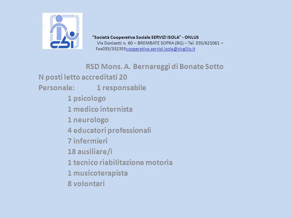Società Cooperativa Sociale SERVIZI ISOLA - ONLUS Via Donizetti n. 60 – BREMBATE SOPRA (BG) – Tel. 035/621061 – Fax035/332355cooperativa.servizi.isola