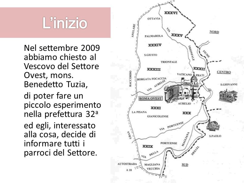 Nel settembre 2009 abbiamo chiesto al Vescovo del Settore Ovest, mons. Benedetto Tuzia, di poter fare un piccolo esperimento nella prefettura 32 a ed