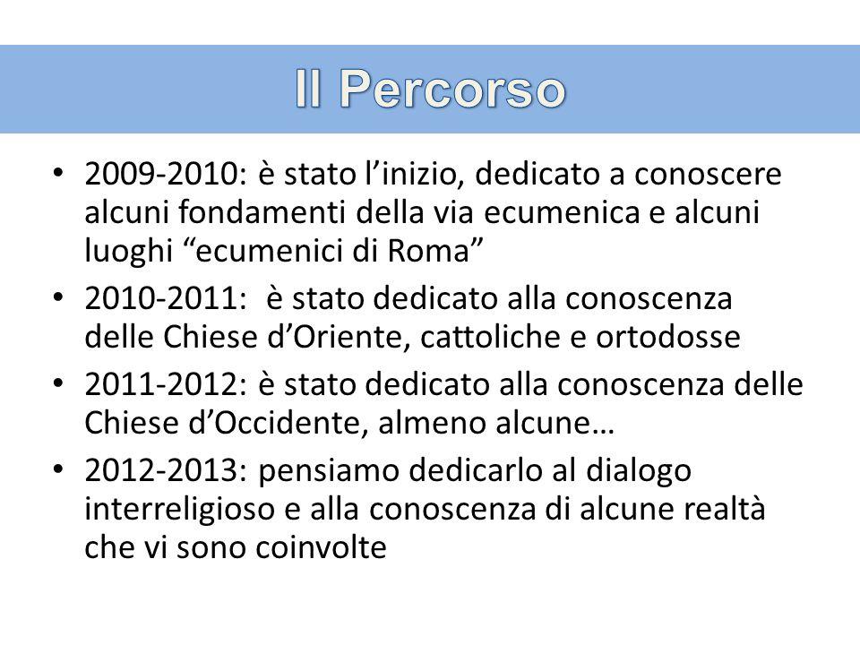 2009-2010: è stato linizio, dedicato a conoscere alcuni fondamenti della via ecumenica e alcuni luoghi ecumenici di Roma 2010-2011: è stato dedicato a