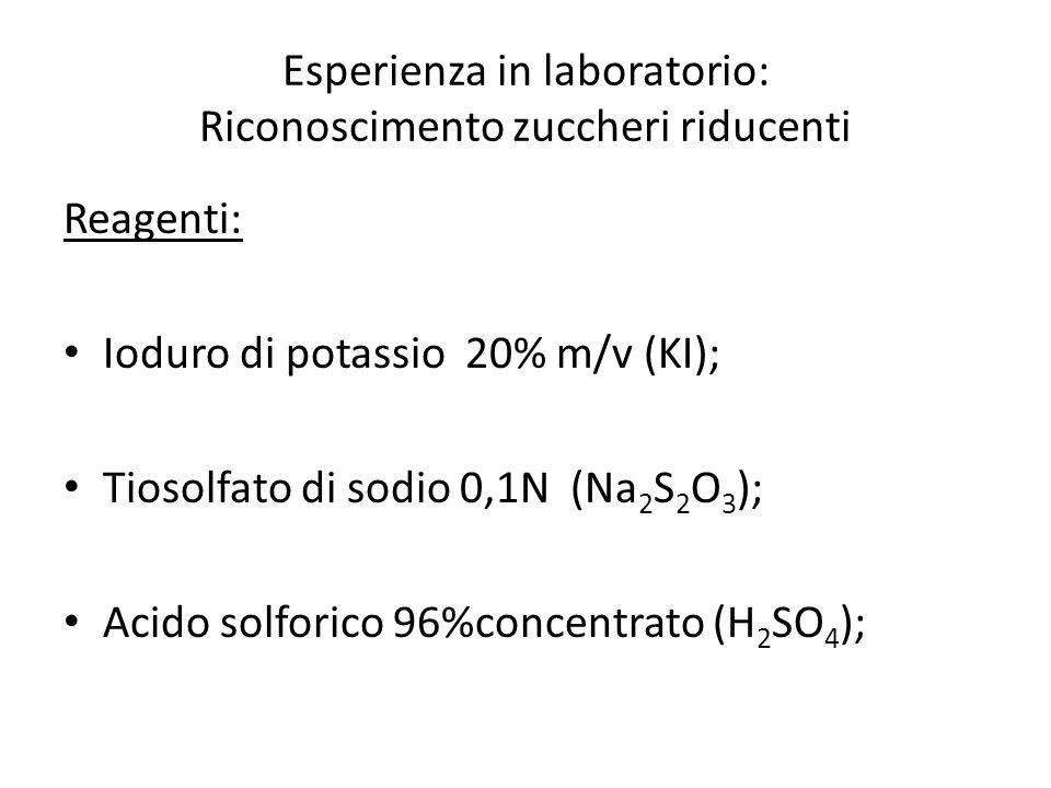 Esperienza in laboratorio: Riconoscimento zuccheri riducenti Reagenti: Ioduro di potassio 20% m/v (KI); Tiosolfato di sodio 0,1N (Na 2 S 2 O 3 ); Acid