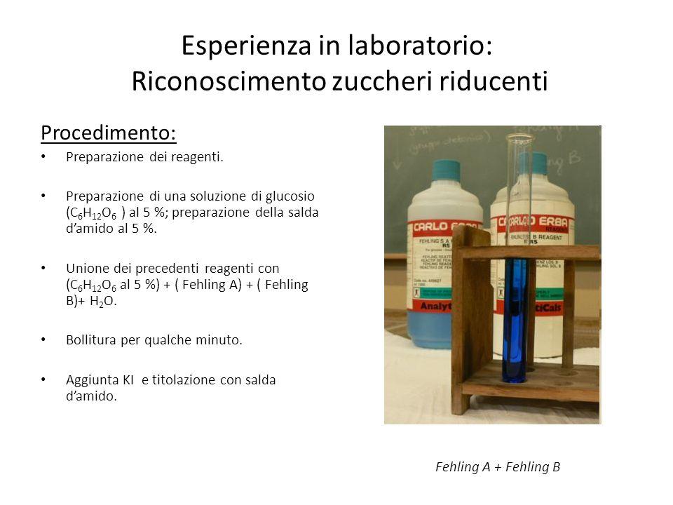 Esperienza in laboratorio: Riconoscimento zuccheri riducenti Procedimento: Preparazione dei reagenti. Preparazione di una soluzione di glucosio (C 6 H