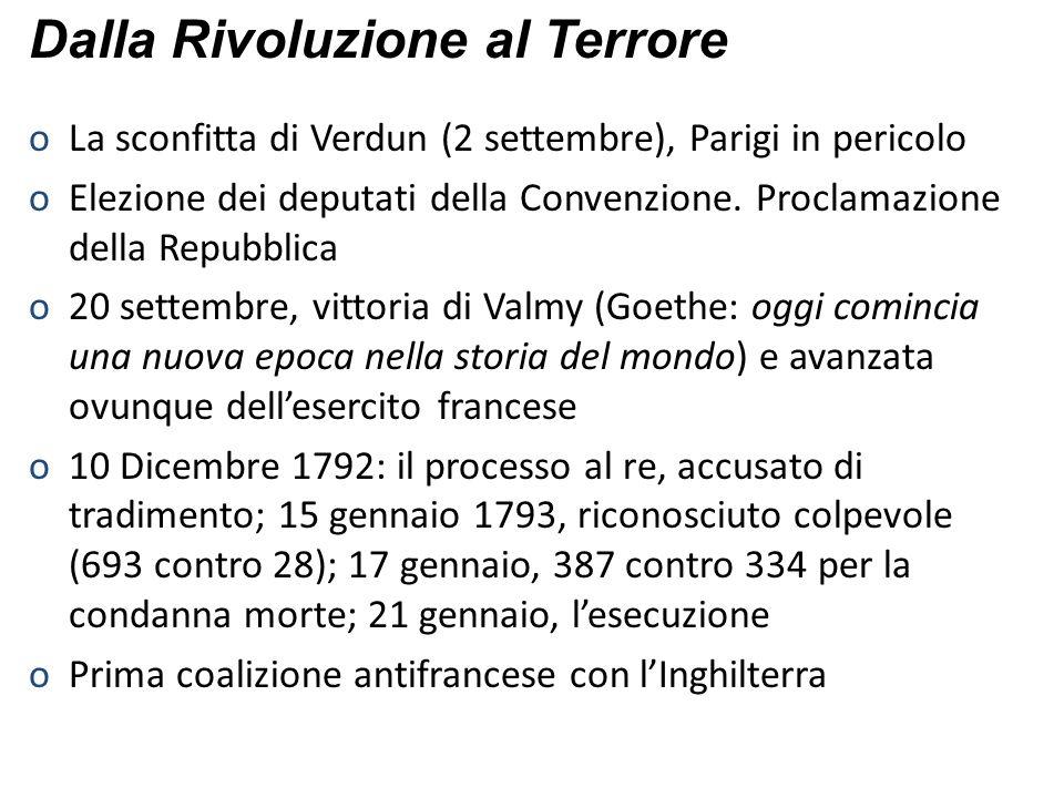 oLa sconfitta di Verdun (2 settembre), Parigi in pericolo oElezione dei deputati della Convenzione. Proclamazione della Repubblica o20 settembre, vitt