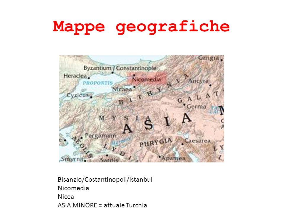 Mappe geografiche Bisanzio/Costantinopoli/Istanbul Nicomedia Nicea ASIA MINORE = attuale Turchia