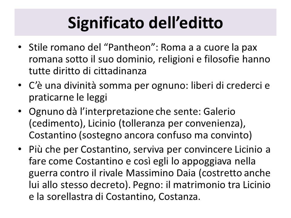 Significato delleditto Stile romano del Pantheon: Roma a a cuore la pax romana sotto il suo dominio, religioni e filosofie hanno tutte diritto di citt