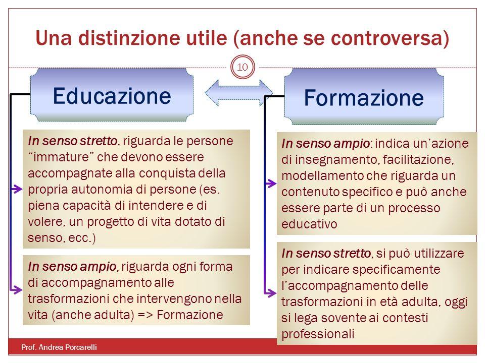 Una distinzione utile (anche se controversa) Prof. Andrea Porcarelli 10 Educazione Formazione In senso stretto, riguarda le persone immature che devon