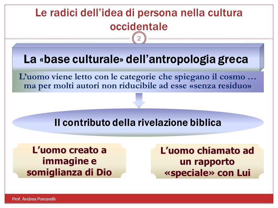Le radici dellidea di persona nella cultura occidentale Prof. Andrea Porcarelli 2 La «base culturale» dellantropologia greca Luomo viene letto con le