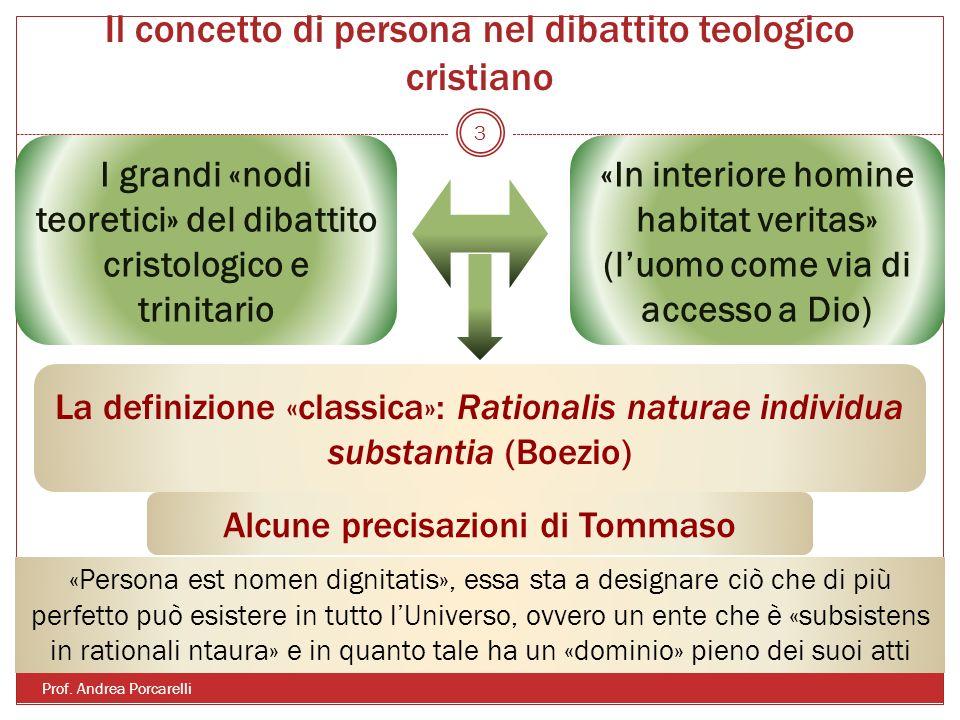 Il concetto di persona nel dibattito teologico cristiano Prof. Andrea Porcarelli 3 I grandi «nodi teoretici» del dibattito cristologico e trinitario «