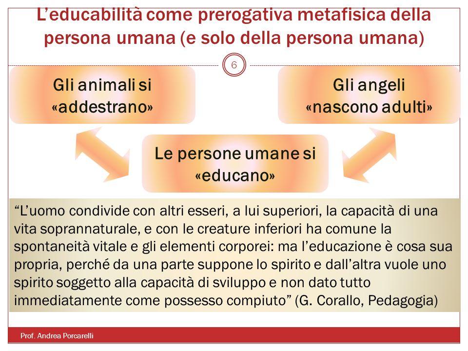 Leducabilità come prerogativa metafisica della persona umana (e solo della persona umana) Prof. Andrea Porcarelli 6 Gli animali si «addestrano» Gli an