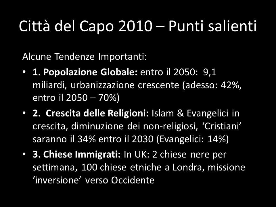 Città del Capo 2010 – Punti salienti Alcune Tendenze Importanti: 1. Popolazione Globale: entro il 2050: 9,1 miliardi, urbanizzazione crescente (adesso