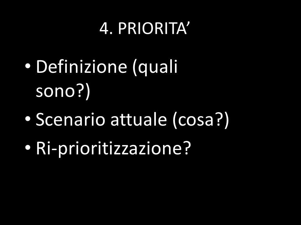 4. PRIORITA Definizione (quali sono?) Scenario attuale (cosa?) Ri-prioritizzazione?