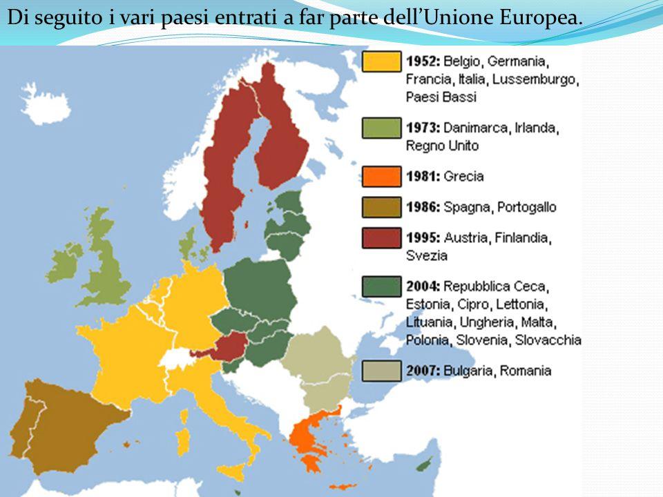 Di seguito i vari paesi entrati a far parte dellUnione Europea.