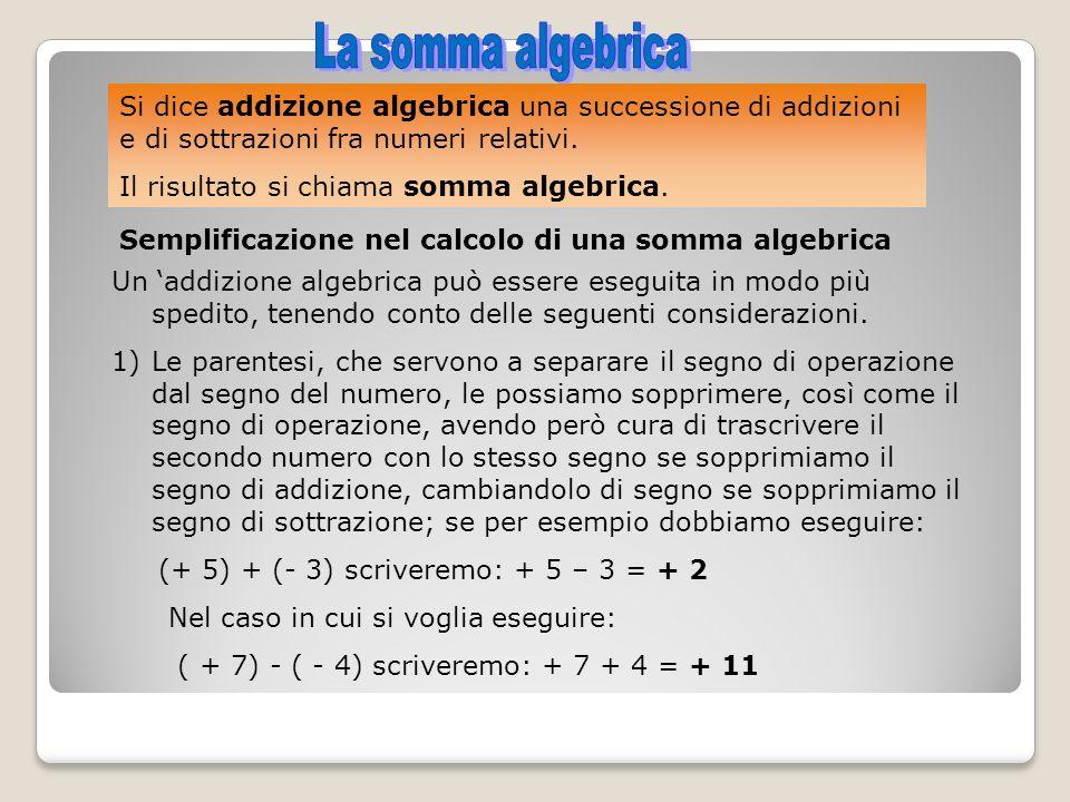 Si dice addizione algebrica una successione di addizioni e di sottrazioni fra numeri relativi. Il risultato si chiama somma algebrica. Semplificazione