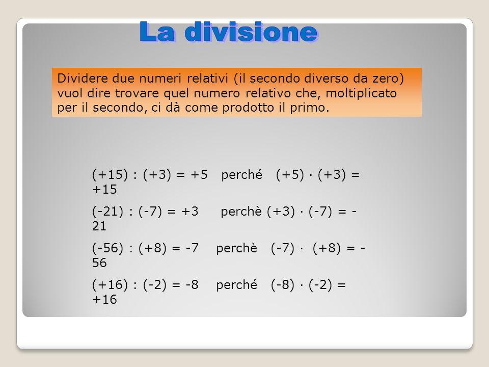Dividere due numeri relativi (il secondo diverso da zero) vuol dire trovare quel numero relativo che, moltiplicato per il secondo, ci dà come prodotto