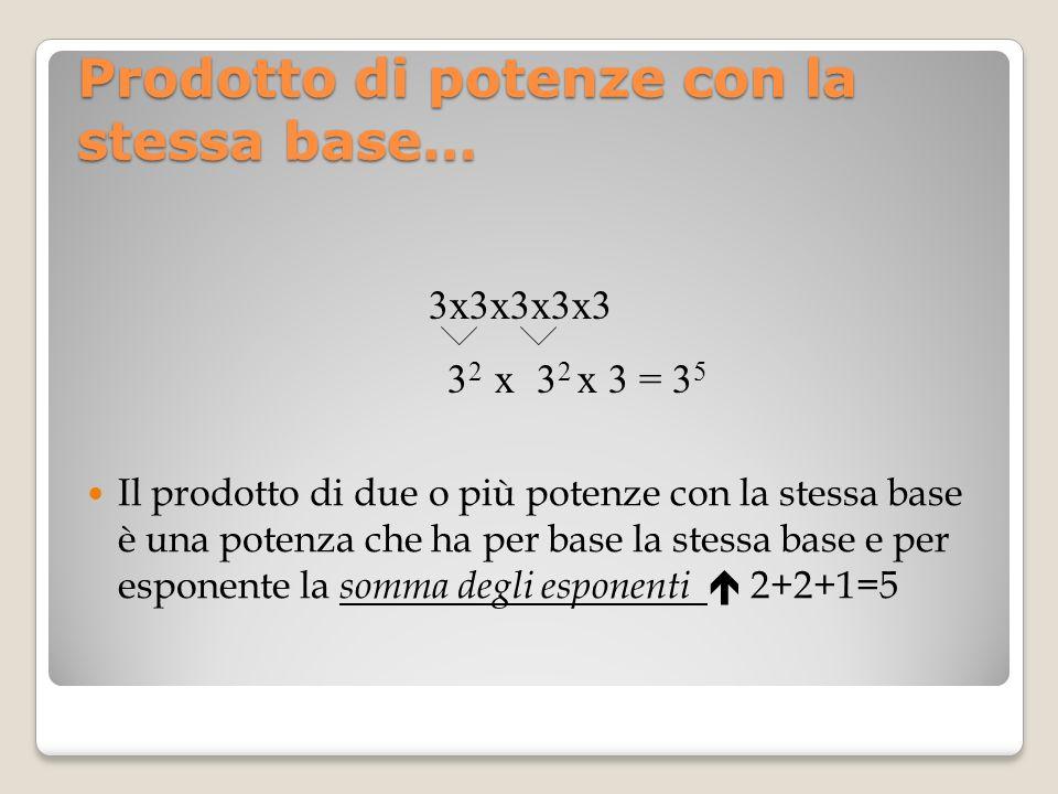 Prodotto di potenze con la stessa base… Il prodotto di due o più potenze con la stessa base è una potenza che ha per base la stessa base e per esponen
