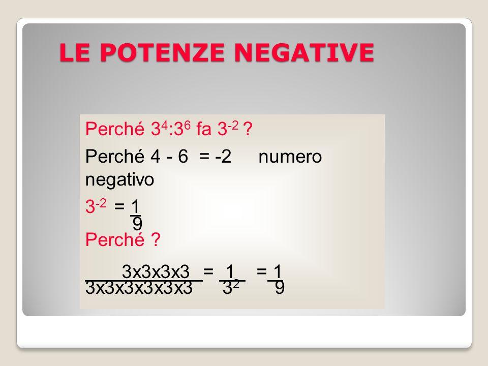 Perché 3 4 :3 6 fa 3 -2 ? Perché 4 - 6 = -2 numero negativo 3 -2 = 1 9 Perché ? 3x3x3x3 = 1 = 1 3x3x3x3x3x3 3 2 9 LE POTENZE NEGATIVE