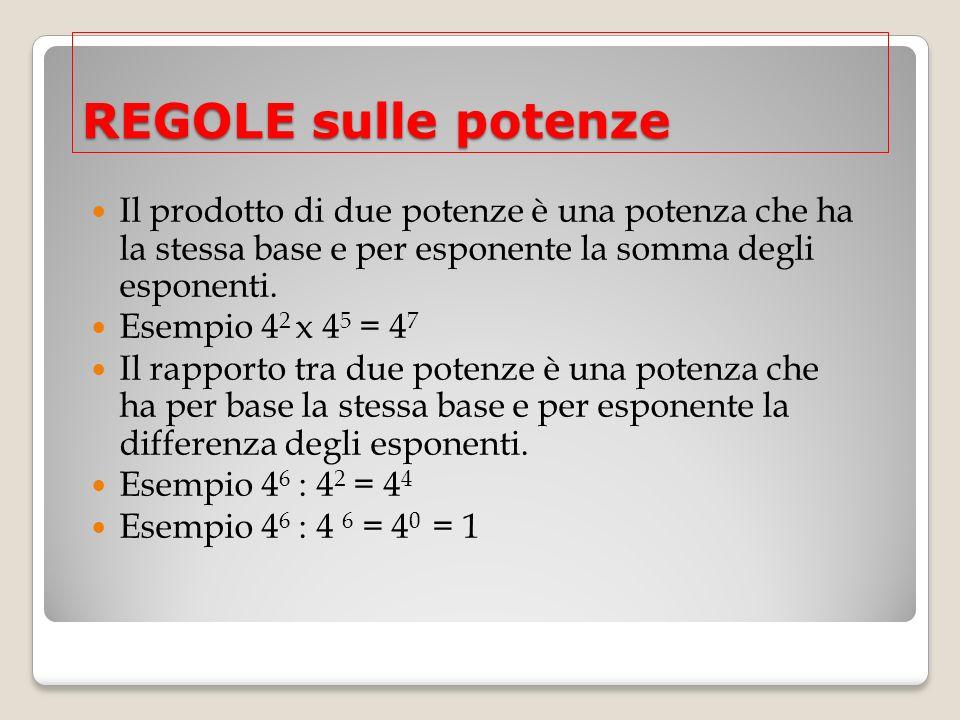 REGOLE sulle potenze Il prodotto di due potenze è una potenza che ha la stessa base e per esponente la somma degli esponenti. Esempio 4 2 x 4 5 = 4 7