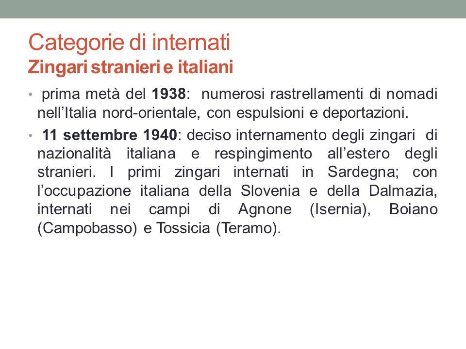 Categorie di internati Zingari stranieri e italiani prima metà del 1938: numerosi rastrellamenti di nomadi nellItalia nord-orientale, con espulsioni e