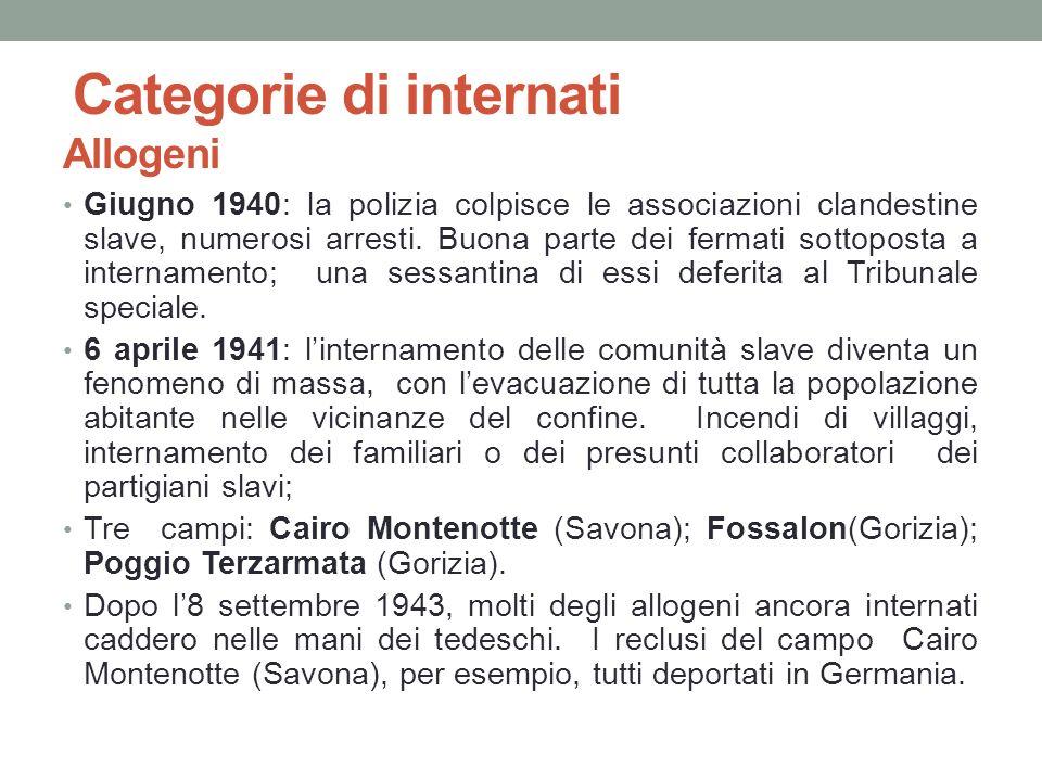 Categorie di internati Allogeni Giugno 1940: la polizia colpisce le associazioni clandestine slave, numerosi arresti. Buona parte dei fermati sottopos
