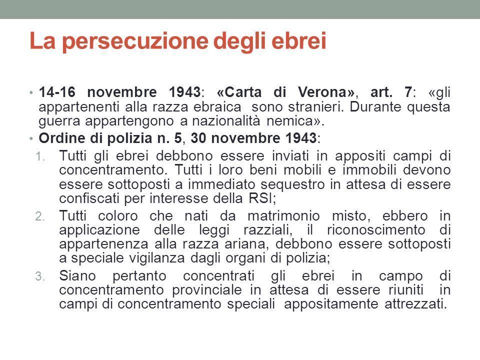 La persecuzione degli ebrei 14-16 novembre 1943: «Carta di Verona», art. 7: «gli appartenenti alla razza ebraica sono stranieri. Durante questa guerra