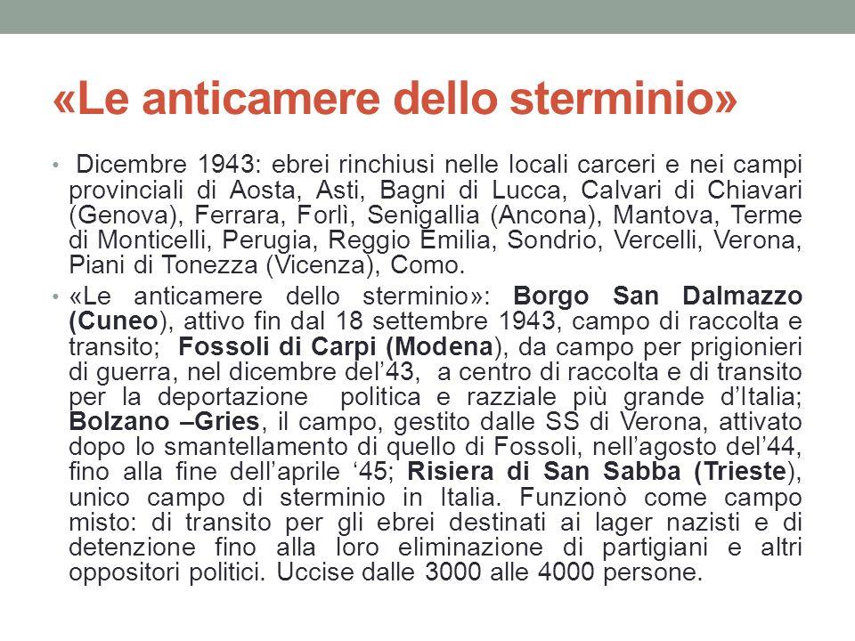 «Le anticamere dello sterminio» Dicembre 1943: ebrei rinchiusi nelle locali carceri e nei campi provinciali di Aosta, Asti, Bagni di Lucca, Calvari di