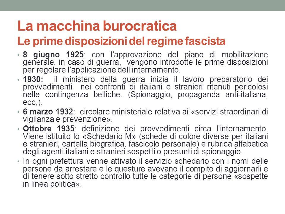 La macchina burocratica Le prime disposizioni del regime fascista 8 giugno 1925: con lapprovazione del piano di mobilitazione generale, in caso di gue