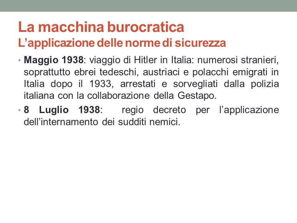 La macchina burocratica Lapplicazione delle norme di sicurezza Maggio 1938: viaggio di Hitler in Italia: numerosi stranieri, soprattutto ebrei tedesch