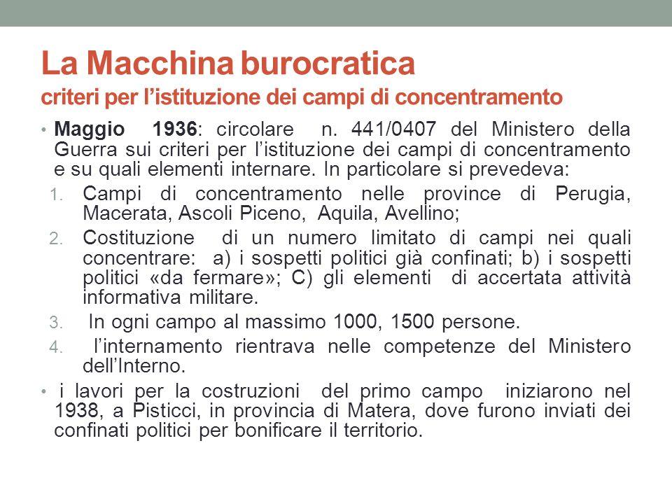 La Macchina burocratica criteri per listituzione dei campi di concentramento Maggio 1936: circolare n. 441/0407 del Ministero della Guerra sui criteri