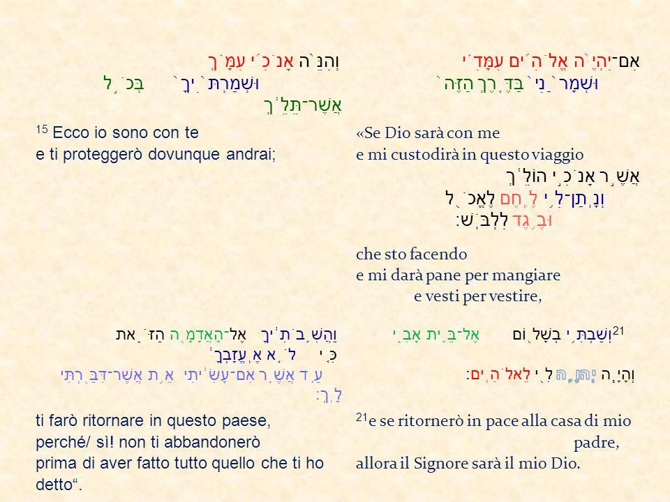 וְהִנֵּ ֙ ה אָנֹכִ ֜ י עִמָּ ֗ ךְ וּשְׁמַרְתּ ֙ ִיךָ ֙ בְּכֹ ֣ ל אֲשֶׁר־תֵּלֵ ֔ ךְ אִם־יִהְיֶ ֙ ה אֱלֹהִ ֜ ים עִמָּדִ ֗ י וּשְׁמָר ֙ ַנִי ֙ בַּדֶּ ֤ רֶךְ הַזֶּה ֙ 15 Ecco io sono con te e ti proteggerò dovunque andrai; «Se Dio sarà con me e mi custodirà in questo viaggio אֲשֶׁ ֣ ר אָנֹכִ ֣ י הוֹלֵ ֔ ךְ וְנָֽתַן־לִ ֥ י לֶ ֛ חֶם לֶאֱכֹ ֖ ל וּבֶ ֥ גֶד לִלְבֹּֽשׁ׃ che sto facendo e mi darà pane per mangiare e vesti per vestire, וַהֲשִׁ ֣ בֹתִ ֔ יךָ אֶל־הָאֲדָמָ ֖ ה הַזֹּ ֑ את כִּ ֚ י לֹ ֣ א אֶֽעֱזָבְךָ ֔ עַ ֚ ד אֲשֶׁ ֣ ר אִם־עָשִׂ ֔ יתִי אֵ ֥ ת אֲשֶׁר־דִּבַּ ֖ רְתִּי לָֽךְ׃ ti farò ritornare in questo paese, perché/ sì.