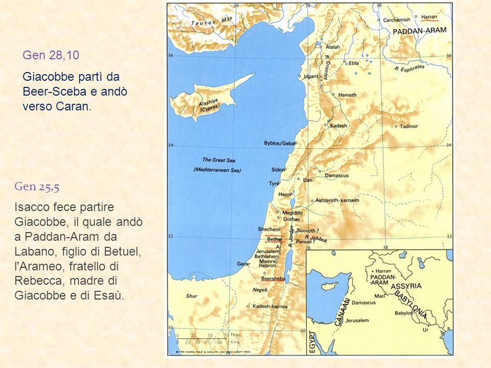Gen 25,5 Isacco fece partire Giacobbe, il quale andò a Paddan-Aram da Labano, figlio di Betuel, l Arameo, fratello di Rebecca, madre di Giacobbe e di Esaù.