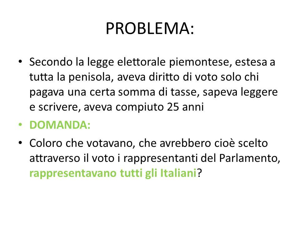 PROBLEMA: Secondo la legge elettorale piemontese, estesa a tutta la penisola, aveva diritto di voto solo chi pagava una certa somma di tasse, sapeva l