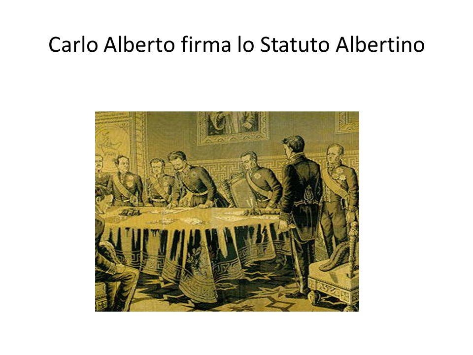 Carlo Alberto firma lo Statuto Albertino