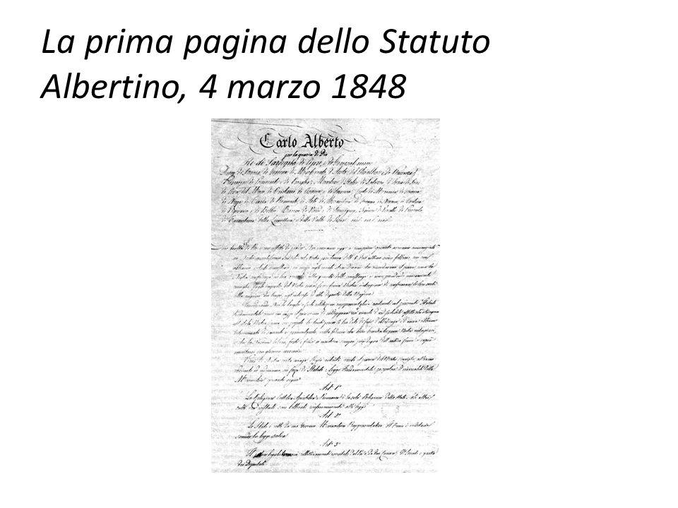 La prima pagina dello Statuto Albertino, 4 marzo 1848