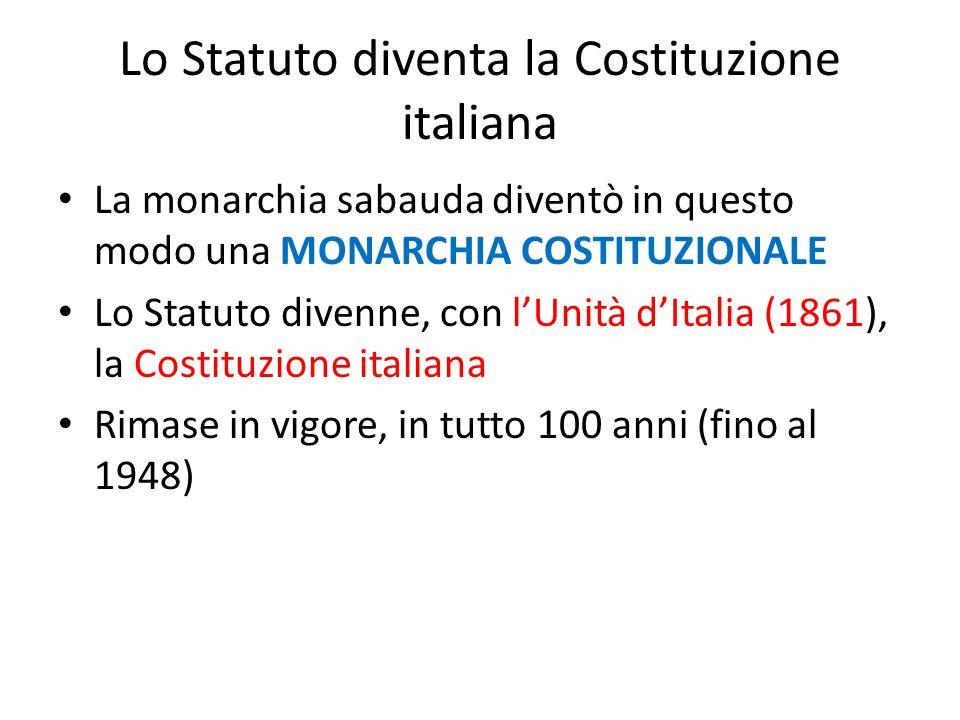 Lo Statuto diventa la Costituzione italiana La monarchia sabauda diventò in questo modo una MONARCHIA COSTITUZIONALE Lo Statuto divenne, con lUnità dI
